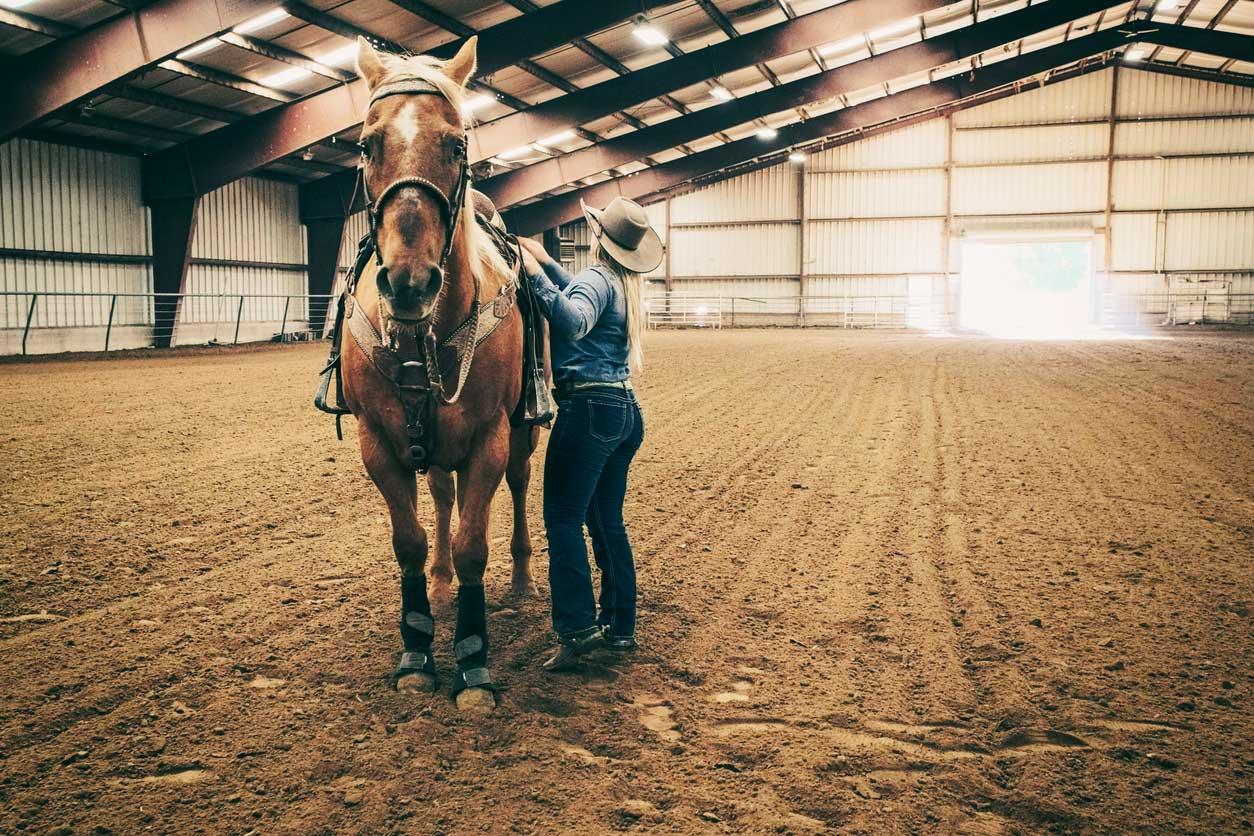 Reithalle mit Pferd und Besitzer