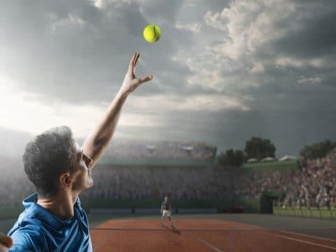Tennismatch Aufschlag